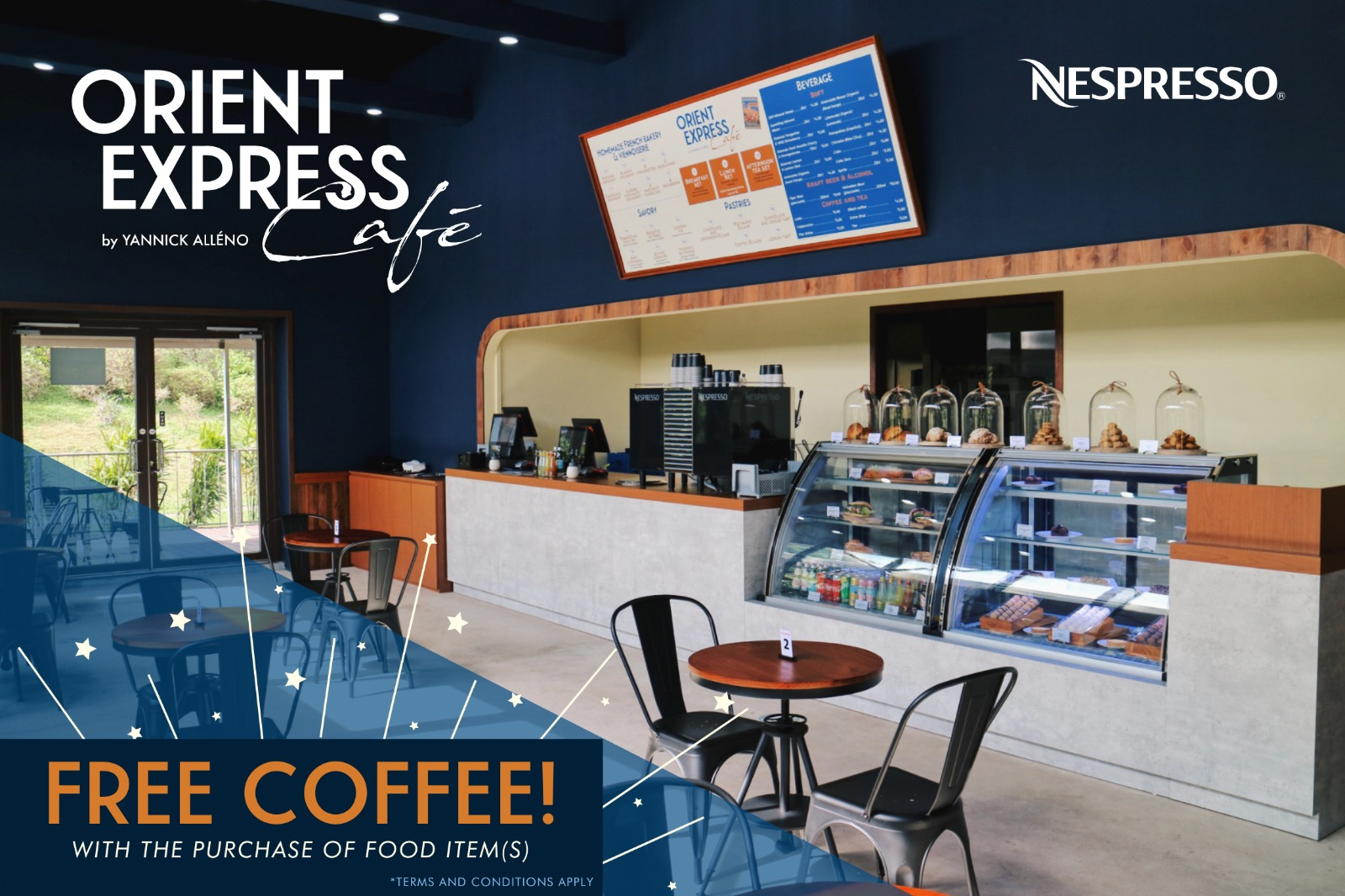 Free coffee with purchase at Orient Express Café by Yannick Alléno